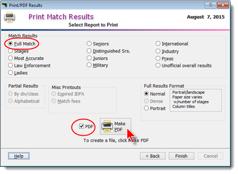 Printing Match Results - PDF Output